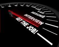 Ottenga il job - processo di intervista - tachimetro Immagine Stock