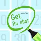 Ottenga il manifesto dell'iniezione antinfluenzale con l'illustrazione di vettore di titolo del titolo illustrazione di stock