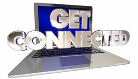 Ottenga il sito Web collegato di Internet di collegamento del computer portatile del computer Immagine Stock Libera da Diritti