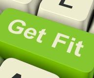 Ottenga il tasto del computer adatto che mostra l'esercizio e che risolve per Fitnes Immagine Stock