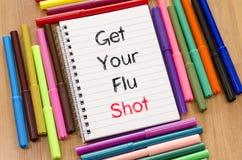 Ottenga il vostro concetto del testo dell'iniezione antinfluenzale fotografie stock