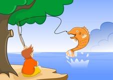 Ottenga un grande pesce Fotografia Stock Libera da Diritti