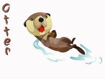 Otter. Cute otter cartoon  standing on white background Royalty Free Stock Image