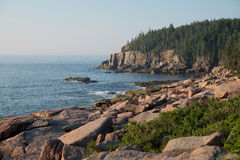 Otter Cliffs and slabs of Pink Granite Rocks left over from the Royalty Free Stock Photos