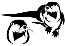Otter vector. Cute otter black and white illustration Stock Images
