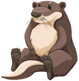 Otter. Cute brown otter on white background Stock Photo