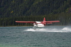 Otter Float plane taxiing at Muncho Lake, northern British Columbia Royalty Free Stock Photo