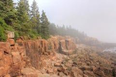 Otter-Klippen im Nebel, Acadia-Nationalpark, Maine Lizenzfreie Stockfotos