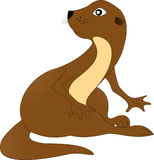 Otter. Sitting otter brown on white background Royalty Free Stock Photo