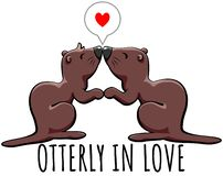 Otterly in love - cute otters holding hands and kissing stock illustration