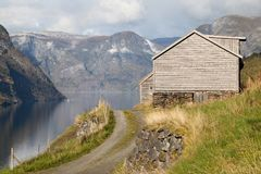 Otternes and the Aurlandsfjord Stock Image