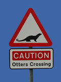 Otters crossing sign Royalty Free Stock Photography