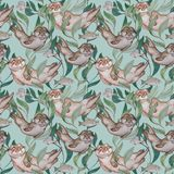 Otters frolic among algae and fish. Seamless pattern in blue and green tones Royalty Free Stock Images