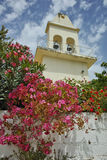 Otthodox church with spring flowers, Kefalonia, Ionian islands, Greece Stock Images
