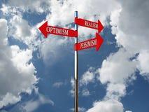 Ottimismo dell'indicatore, pessimismo, realismo Immagini Stock Libere da Diritti