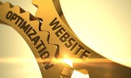 Ottimizzazione del sito Web sugli ingranaggi metallici dorati del dente 3d Fotografie Stock Libere da Diritti