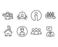 Ottimizzazione di affari, icone del gruppo e della coda Persona, la gente che parlano e segni di servizio di sostegno Immagini Stock