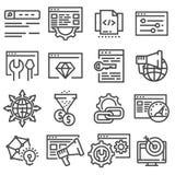 Ottimizzazione di SEO e linea sottile commercializzante icone messe Immagini Stock