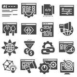 Ottimizzazione di SEO ed icone grige sottili commercializzanti di vettore messe Fotografia Stock Libera da Diritti