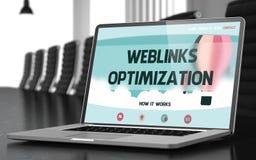 Ottimizzazione di Weblinks sul computer portatile in sala per conferenze 3d Fotografie Stock