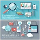 Ottimizzazione e rete sociale di SEO Fotografia Stock