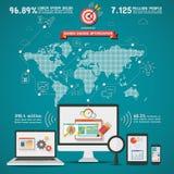 Ottimizzazione Infographics mondiale del motore di SEO Search Fotografia Stock Libera da Diritti