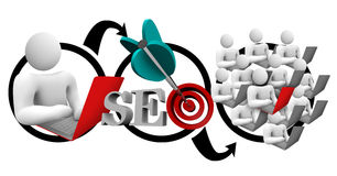 Ottimizzazione SEO Diagram Increase Traffic del motore di ricerca Immagine Stock