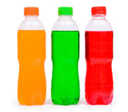 Ottle of cream, orange and strawberry soda Royalty Free Stock Images