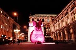 Ottmar Horl ` s巨型桃红色兔子雕塑 图库摄影