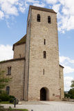 Ottmarsheim修道院教会塔在法国 库存图片