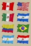 Otto bandiere americane Fotografia Stock