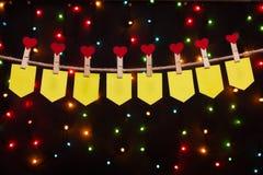 Otto bandiere di festa con i cuori Fotografia Stock Libera da Diritti