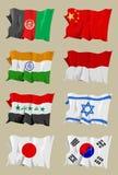 Otto bandierine asiatiche Fotografie Stock