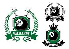 Otto biliardo della palla o emblema dello stagno Fotografia Stock