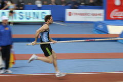 Otto Björn wins second place. In men's competition with the result 5.82 on Samsung Pole Vault Stars meeting on February 11, 2012 in Donetsk, Ukraine stock photography