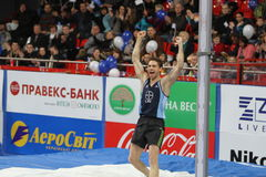 Otto Björn wins second place. In men's competition with the result 5.82 on Samsung Pole Vault Stars meeting on February 11, 2012 in Donetsk, Ukraine stock image