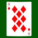 Otto diamanti Icona del vestito della carta, simboli delle carte da gioco illustrazione di stock