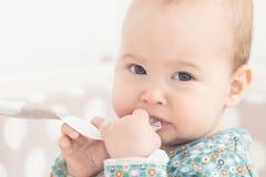 Otto mesi della neonata Fotografia Stock