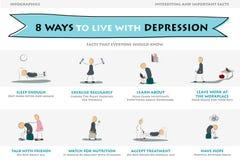 Otto modi vivere con la depressione Immagine Stock