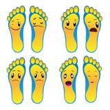Otto piedi blu-gialli del piede di archivio sorridente di vettore ENV illustrazione di stock