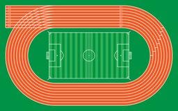 otto piste correnti con stadio di football americano per il modello e il desig Fotografia Stock