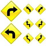 Otto segnali stradali di colore giallo di figura del diamante Immagini Stock