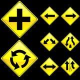 Otto segnali stradali di colore giallo di figura del diamante hanno impostato 2 Fotografia Stock Libera da Diritti