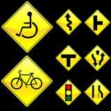 Otto segnali stradali di colore giallo di figura del diamante hanno impostato 3 Fotografie Stock Libere da Diritti