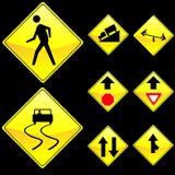 Otto segnali stradali di colore giallo di figura del diamante hanno impostato 4 Fotografia Stock Libera da Diritti