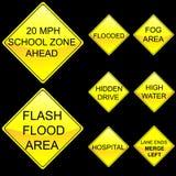 Otto segnali stradali di colore giallo di figura del diamante hanno impostato 7 Immagini Stock