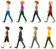 Otto signori che camminano senza fronti Immagini Stock