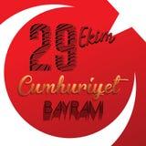 29 ottobre giorno nazionale della Repubblica della Turchia, progettazione grafica di celebrazione Illustrazione di vettore Fotografia Stock