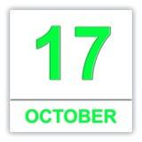 17 ottobre Giorno sul calendario Immagini Stock