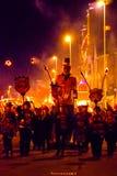 17 ottobre 2015, Hastings, Regno Unito, processione del falò con effigie Fotografia Stock Libera da Diritti